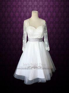 Retro 50s Tea Length Lace Wedding Dress with Long Sleeves | Divan | Ieie's Bridal Dress Boutique