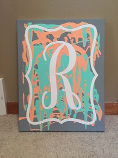 Unity painting for wedding ceremony. Vinyl lettering on canvas, that's removed after the paint is dry.