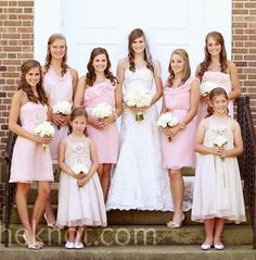 pink mismatched bridesmaid dresses @Maggie Moore Waddell @Mike-Susan Hensley Jones