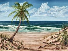 My Tropical Beach Painting by Artist Barbara Ann Robertson
