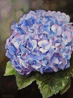 Flower Watercolor Paintings - Blue Hydrangea watercolor flower painting by Doris Joa Hydrangea Flower, Hydrangeas, Watercolor Flowers, Watercolor Paintings, Paint Flowers, Flower Paintings, Watercolours, Diy Flowers, Watercolor Paper