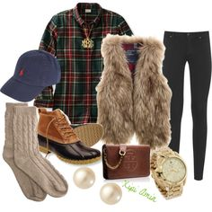 """""""Plaid & Fur."""" by xipiamin on Polyvore"""