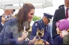 Kate was given a toy police dog for Prince George, April 16, 2014