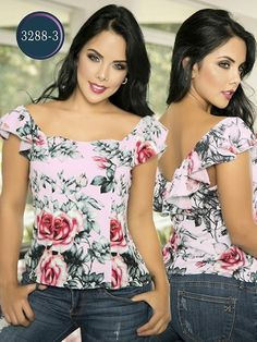 Blusa Moda Colombiana Thaxx - Ref. 119 Blanco Blusa Moda Colombiana Thaxx - Ref. Floral Fashion, Fashion Art, Womens Fashion, Blouse Styles, Blouse Designs, Sewing Blouses, Summer Looks, Refashion, Casual Wear