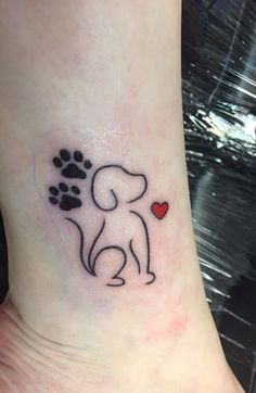 Best Puppy tattoo ideas - Topstoryfeed- You can examine all tattoo models and print them out. Fake Tattoo, Wrist Tattoos, Dog Tattoos, Mini Tattoos, Animal Tattoos, Body Art Tattoos, Small Tattoos, Paw Print Tattoos, Tattos