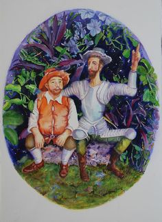 Don Quijote Shows Sancho A New Paradise Painting by Estela Robles - Don Quijote…