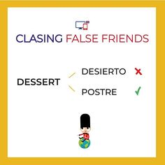 Son muy parecidas! No te confundas al pronunciarlas!  (DESERT - dezərt)  (DESSERT - dɪˈzɜːt).   ...   #falsefriends #englishteaching #inglesfacil #IELTS #englishvocabulary Learn English, English English, False Friends, Spanish Language Learning, Idioms, English Vocabulary, Grammar, Study, Ielts
