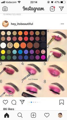 Makeup Eye Looks, Pink Eye Makeup, Eye Makeup Steps, Eye Makeup Art, Colorful Eye Makeup, Eyebrow Makeup, Skin Makeup, Makeup Morphe, Makeup Eyeshadow Palette