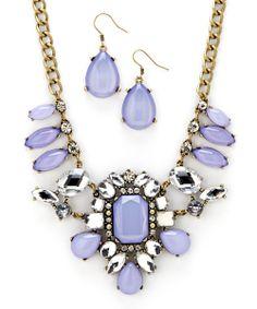 Gold & Light Purple Bib Necklace & Drop Earrings