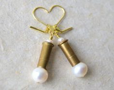 shotgun shell ornaments | ... - June birthstone - Bullet Jewelry - Shotgun Wedding - Reclaimed