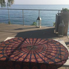 #mornings like this with my #roundie 💙☀️🇬🇷 #mandala #prints #sea #view #beachlife 😎 Summer Accessories, Mornings, Beach Mat, Mandala, Outdoor Blanket, Sea, Prints, Instagram Posts, Mandalas