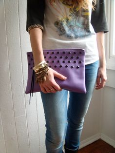 Oversized clutch purple studded by Division24 on Etsy. $65.00 USD, via Etsy.