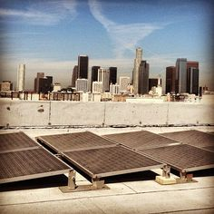 Solar panels and view of Downtown Los Angeles from the American Apparel factory rooftop.