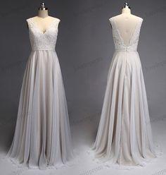 Champagne lace wedding dress chiffon long bridal by loveinprom