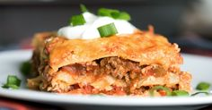 Taco Lasagna 1 hour to prepare serves INGREDIENTS 12 no-boil lasagna noodles 1 pound lean ground beef 1 egg 1 cups ricotta cheese 4 cups cheddar cheese, grated 3 cups chunky salsa 2 tablespoons taco Casserole Recipes, Meat Recipes, Mexican Food Recipes, Cooking Recipes, Lasagna Recipes, Mexican Meals, Enchilada Casserole, Pasta Recipes, Gourmet