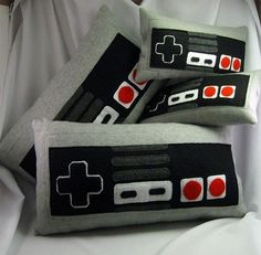 video game interior design  nintendo, controllers, video games, games, NES Controller Pillows