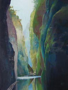 Oneanta Gorge oil on panel 16x12 Randall David Tipton