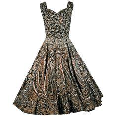Stunning 1950s Mexican Metallic Atomic-Swirls Glitter Cotton Belted Dress. #vintage #1950s #dresses