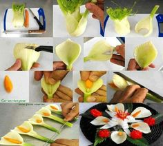 very creative carving of vegetables to create beautiful flowers.