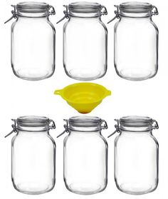 The classic swing-top preserving jar set is made of solid glass and includes a funnel with a latch. These glass jars are perfect for preserving jams, sausages or foie gras. They are also great as decoration.