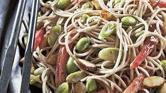 Spicy Almond Soba Noodles with Edamame by Fine Cooking Pork Recipes, Wine Recipes, Asian Recipes, Ethnic Recipes, 30 Min Dinner, Fideos Soba, Quick Vegetarian Dinner, Vegetarian Meals, Spicy Almonds