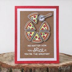 Lawn Fawn Pizza My Heart Card by Emma Chizlett