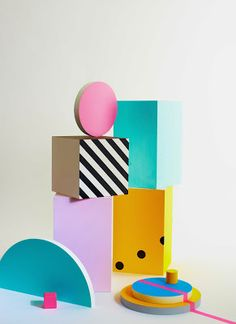 Recent styling work of Charlotte Love experimenting with shape & color inspired by the Memphis group.
