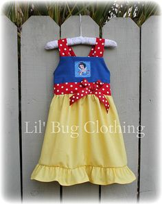 **CURRENTLY LISTED ON EBAY FOR RESELL* Lil Bug Custom Boutique Clothing Girl  Disney Snow White 1 Piece Jumper Dress Costume