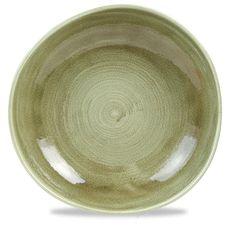 "Churchill Stonecast Patina Burnished Green Organic Round Plate 11.25"""