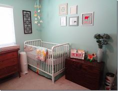 Vintage, turquoise baby nursery #baby #babynursery #babyroom #vintagebaby #turquoisebaby
