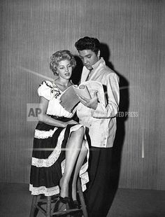 """Singer-actor Elvis Presley and co-star and companion Anne Neyland of Texas read over the script of the musical movie """"Jailhouse Rock"""" at MGM studios in Hollywood, Ca. Elvis Presley Priscilla, Elvis Presley Movies, Are You Lonesome Tonight, Elvis Presley Pictures, Young Elvis, Jailhouse Rock, Graceland, American Singers, In Hollywood"""