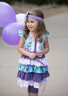 Turquoise, Lavender, and purple ruffled tunic set for girls.