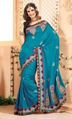 Blue Bhagalpuri Silk Saree http://www.a2zoffer.com