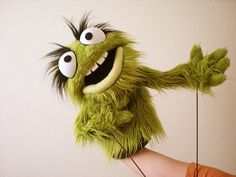 Professional Green Furry Monster Puppet with Teeth by blankpuppets