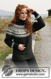 """Susan - Romslig DROPS genser i """"Karisma"""" med rundfelling og norsk mønster. Str S til XXXL - Free pattern by DROPS Design"""