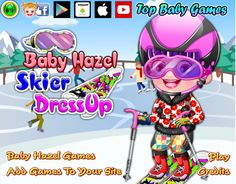 Give Baby Hazel a pair of skies, gloves, outfits, helmet and other safety gears so that she  can enjoy gliding over the snow http://www.topbabygames.com/baby-hazel-skier-dressup.html