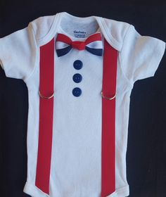 4th of July Little Man Attire1 Shirt w/ - Bow Tie - Buttons - Suspenders