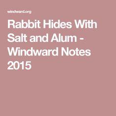 Rabbit Hides With Salt and Alum - Windward Notes 2015