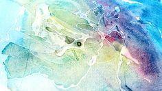 Akvarellimaalausta kuivuneen liiman päälle