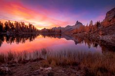 - Beautiful sunrise at Lago Federa Beautiful Sunrise, Celestial, Mountains, Sunset, Pictures, Photos, Reflection, Nature, Travel