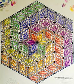 ⊰❁⊱ Mandala ⊰❁⊱ Hand colored hexagon diamonds mandala- colored by Brandy Viele