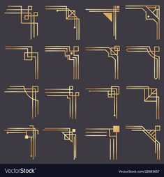 Modern graphic corners for vintage gold pattern border. Golden fashion decorative lines frame or vector ornaments geometric fra… - New Deko Sites Art Deco Borders, Motif Art Deco, Art Deco Design, Art Deco Art, 1920s Art Deco, Art Deco Decor, Modern Art Deco, Fur Vintage, Vintage Frames