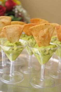 Guac Chips in Martini Glasses #appetizer #party