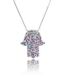 colar hamsa prata com zirconias coloridas e banho de rodio semi joias misticas