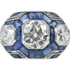 Art Deco 7.28ct Old European Diamond Three Stone Engagement Platinum Ring