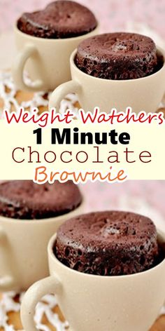 to Prepare: 2 Minutes to Cook: 1 Number of Servings: 1 Ingredients : 1 TBSP whole wheat flour 1 TBSP sugar (do not substitute) 1 TBSP unsweetened cocoa a pinch of baking soda a pinch of salt 1 TBSP of low fat Weight Watcher Mug Cake, Weight Watchers Brownies, Weight Watchers Muffins, Weight Watchers Desserts, Weight Watchers Cheesecake, Ww Desserts, Delicious Desserts, Dessert Recipes, Yummy Food