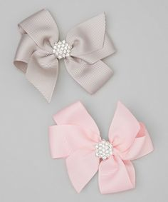 Love this Pink & Gray Rhinestone Bow Clip Set by Charlotte Rose Couture on #zulily! #zulilyfinds