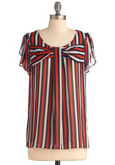 Ship Off to Adventure Top - Long, Casual, Nautical, Red, Black, White, Stripes, Bows, Short Sleeves