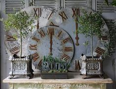 Country Chic, French Country, Garden Clocks, Diy Clock, French Decor, Garden Ornaments, Furniture Arrangement, First Home, Porch Decorating