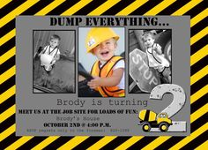 Boy Construction Theme Photo Card Invitation by gigglesngrinsbaby, $15.00